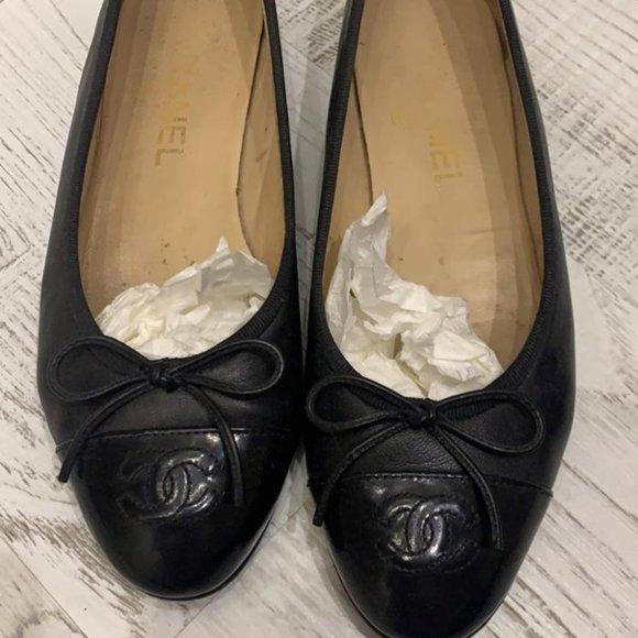 Auth Chanel CC Cap Classic Black Ballet Flats 36